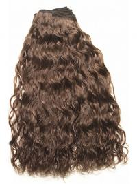 Curly Remy Human Hair Brown Top Weft Extensions