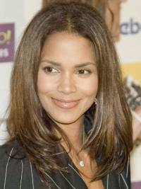 """Lace Front Straight Layered Long Hairstyles 16"""" Halle Berry Wigs"""