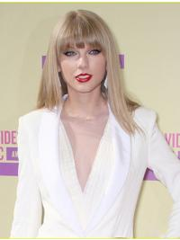 Capless With Bangs Straight Shoulder Length Blonde Durable Taylor Swift Wigs