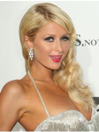 100% Hand-tied Long Wavy Without Bangs Blonde No-Fuss Paris Hilton Wigs