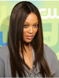 Tyra Banks Wig With Lace Front Brown Color Straight Style