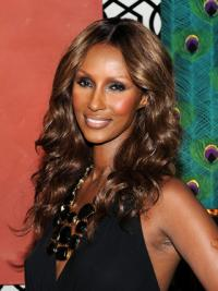 """Long Wavy Lace Front Brown 18"""" Cheapest Iman Wigs"""