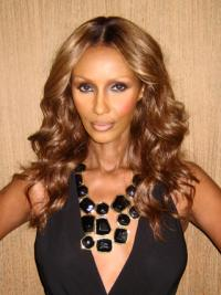 """Long Wavy Lace Front Brown 18"""" Affordable Iman Wigs"""