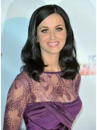 "16"" Popular Black Shoulder Length Wavy Without Bangs Katy Perry Wigs"