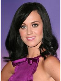 "16"" Natural Black Shoulder Length Wavy Layered Katy Perry Wigs"