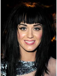 "17"" Affordable Black Long Straight With Bangs Katy Perry Wigs"