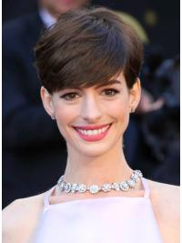 """Brown Cropped Straight Boycuts Capless 6"""" Anne Hathaway Wigs"""