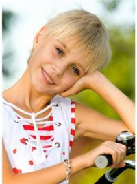 Straight Short Blonde Remy Human Hair 100% Hand-tied Kids Wigs