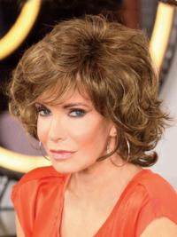 """Chin Length Curly With Bangs Lace Front Brown Modern 12"""" Jaclyn Smith Wigs"""