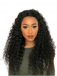 """24"""" Without Bangs Black Curly Remy Human Hair 360 Lace Wigs"""