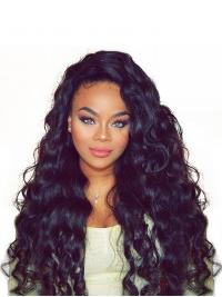 "Black Curly 20"" Without Bangs Remy Human Hair 360 Lace Wigs"