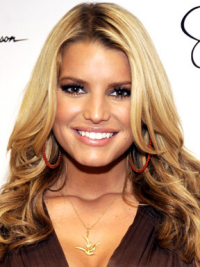 "16"" Trendy Blonde Long Wavy Without Bangs Jessica Simpson Wigs"