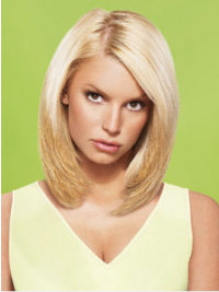 "12"" No-Fuss Blonde Short Straight Layered Jessica Simpson Wigs"