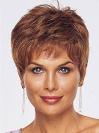 Straight Style Cropped Length Auburn Color wig