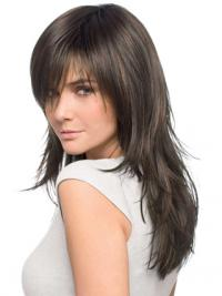 Human Hair Wigs Layered Cut Brown Color Long Length Straight Style