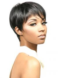 African Wigs With Synthetic Capless Cropped Length Boycuts Straight Style