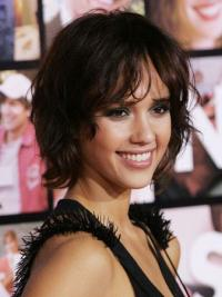 Jessica Alba Wigs With Remy Human Lace Front Wavy Style Short Length
