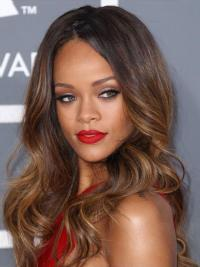 Rihanna Style Wig With Lace Front Long Length Brown Color