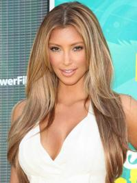 Best Human Hair Straight Style Blonde Color With Monofilament Kim Kardashian wig