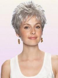 Grey Wig With Capless Cropped Length Boycuts Wavy Style