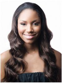 Wavy Indian Remy Hair Brown Long Sassy 3/4 Wigs