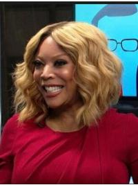 "Without Bangs Wavy Lace Front Shoulder Length Blonde 13"" Synthetic Wendy Williams Wigs"
