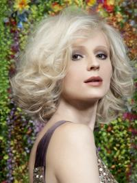 """Full Lace Layered Chin Length Wavy 12"""" Platinum Blonde Hairstyles Fashion Wigs"""