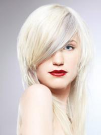 """Lace Front With Bangs Long Straight 16"""" Platinum Blonde Fashionable Fashion Wigs"""