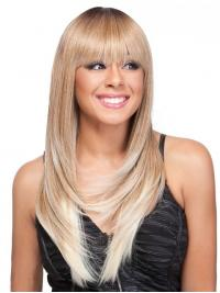 Straight Synthetic Blonde Long With Bangs Monofillament Tasia Alexis Wigs