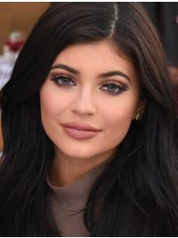 Kylie Jenner Wig Layered Cut Black Color Wavy Style Long Length